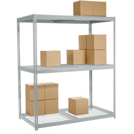 "Wide Span Rack 60""W x 36""D x 96""H With 3 Shelves Wire Deck 1200 Lb Capacity Per Level"