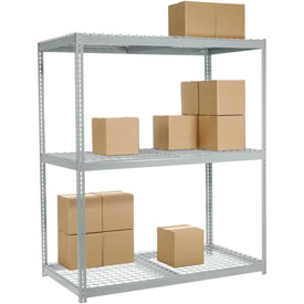 "Wide Span Rack 72""W x 24""D x 96""H With 3 Shelves Wire Deck 900 Lb Capacity Per Level"