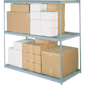 "Wide Span Rack 72""W x 48""D x 96""H With 3 Shelves Wire Deck 900 Lb Capacity Per Level"