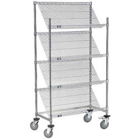 "Slant Wire Shelving Truck - 4 Shelves With Brakes - 48""W x 24""D x 69""H"