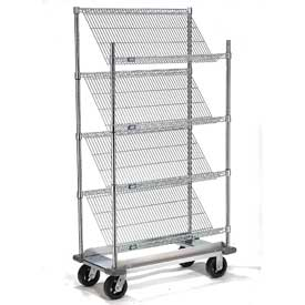 "Slant Wire Shelving Truck - 4 Shelves With Dolly Base - 36""W x 24""D x 70""H"