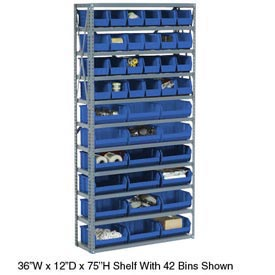 "Steel Open Shelving with 14 Blue Plastic Stacking Bins 8 Shelves - 36"" x12"" x 73"""