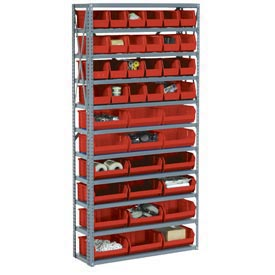 "Steel Open Shelving with 14 Red Plastic Stacking Bins 8 Shelves - 36"" x12"" x 73"""