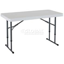"Lifetime® Adjustable Height Folding Table 48""L x 24""W x 22 to 36""H - White"
