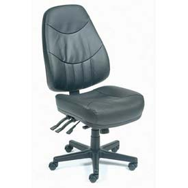 Multifunctional Office Chair - Leather - High Back - Black
