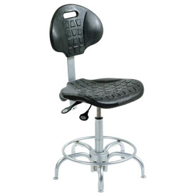"BioFit Ergonomic Stool - Self-skinned Urethane - Seat Heat 20"" - 27"" - Black w/Chrome Plated Parts"