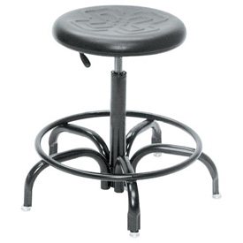 "BioFit Ergonomic Stool - Black Polyurethane Seat - Seat Height Range 17"" -21"""