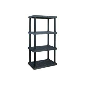 "Structural Plastic Vented Shelving, 36""W x 24""D x 75""H, Black"