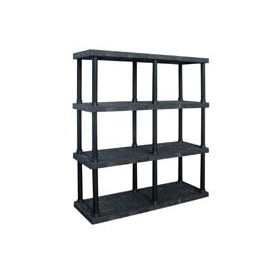 "Structural Plastic Vented Shelving, 66""W x 24""D x 75""H, Black"