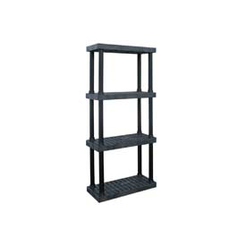 "Structural Plastic Vented Shelving, 36""W x 16""D x 75""H, Black"