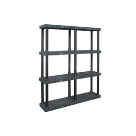 "Structural Plastic Vented Shelving, 66""W x 16""D x 75""H, Black"