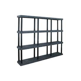 """Structural Plastic Vented Shelving, 96""""W x 16""""D x 75""""H, Black"""