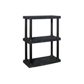 "Structural Plastic Adjustable Vented Shelving, 36""W x 16""D x 45""H, Black"