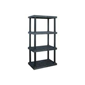 "Structural Plastic Adjustable Vented Shelving, 36""W x 24""D x 72""H, Black"
