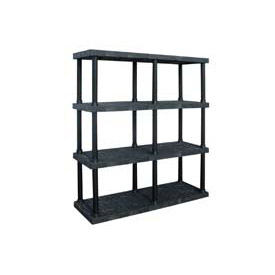 "Structural Plastic Adjustable Vented Shelving, 66""W x 16""D x 72""H, Black"