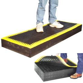 "7/8"" Thick Anti Fatigue Mat - Black with Yellow Border 24X66"