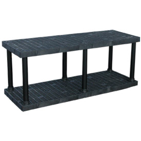 "Structural Plastic Vented Shelving, 66""W x 24""D x 27""H, Black"