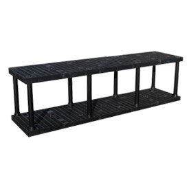 "Structural Plastic Vented Shelving, 96""W x 24""D x 27""H, Black"