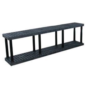"Structural Plastic Vented Shelving, 96""W x 16""D x 27""H, Black"