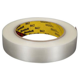 "3M™ Scotch® 862 Reinforced Strapping Tape 1"" x 60 Yds. 4.6 Mil Clear - Pkg Qty 36"