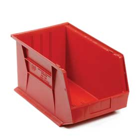 Quantum Plastic Storage Bin - Small Parts QUS260 11 x 18 x 10 Red - Pkg Qty 4