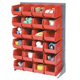 "Singled Sided Louvered Bin Rack 35""W x 15""D x 50""H with 24 of Red Premium Stacking Bins"