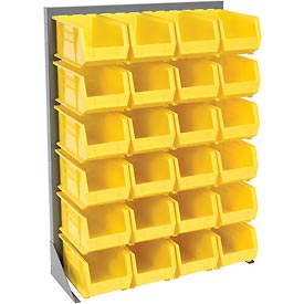 "Singled Sided Louvered Bin Rack 35""W x 15""D x 50""H with 24 of Yellow Premium Stacking Bins"