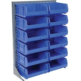 "Singled Sided Louvered Bin Rack 35""W x 15""D x 50""H with 12 of Blue Premium Stacking Bins"