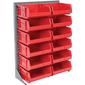 "Singled Sided Louvered Bin Rack 35""W x 15""D x 50""H with 12 of Red Premium Stacking Bins"