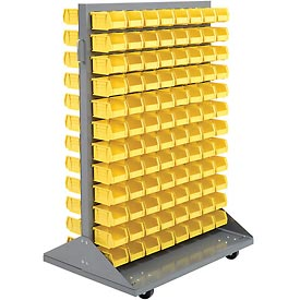 Mobile Double Sided Floor Rack With 192 Yellow Stacking Bins 36 x 54