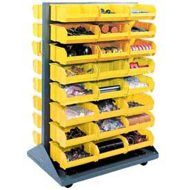Mobile Double Sided Floor Rack With 96 Yellow Stacking Bins 36 x 54