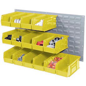 Wall Bin Rack Panel 36 x19 With 18 Yellow 5-1/2x11x5 Stacking Bins