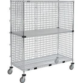 Nexel® Enclosed Wire Exchange Truck 2 Wire 1 Galvanized Shelf 800 Lb Cap