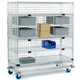 Nexel® Enclosed Wire Exchange Truck 4 Wire 1 Galvanized Shelf 1000 Lb Cap