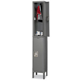 Hallowell UY1288-2 Maintenance-Free Quiet Locker Double Tier 12x18x36 2 Door Ready To Assemble Gray