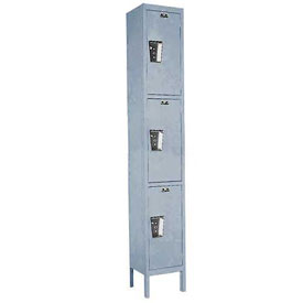 Hallowell UY1258-3 Maintenance-Free Quiet Locker Triple Tier 12x15x24 3 Door Ready To Assemble Gray