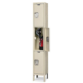 Hallowell UY1288-3 Maintenance-Free Quiet Locker Triple 12x18x24 3 Door Ready To Assemble Parchment
