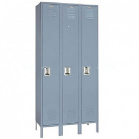 Lyon Locker DD50623SU Single Tier 15x18x72 3-Wide Recessed Handle Assembled Gray