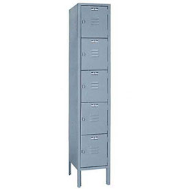 Lyon Locker DD5302SU Five Tier 12x12x12 1-Wide Hasp Handle Assembled Gray