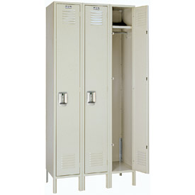 Lyon Locker PP50123 Single Tier 12x15x60 3-Wide Recessed Handle Ready To Assemble Putty