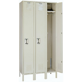 Lyon Locker PP50223 Single Tier 12x18x60 3-Wide Recessed Handle Ready To Assemble Putty