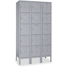 Lyon Locker DD53223 Five Tier 15x15x12 3-Wide Hasp Handle Ready To Assemble Gray