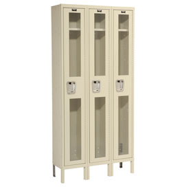 Hallowell USV3228-1PT Safety-View Locker Single Tier 12x12x72 3 Doors Unassembled Parchment