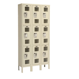 Hallowell USV3258-3PT Safety-View Locker Triple Tier 12x15x24 9 Doors Unassembled Parchment
