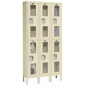 Hallowell USV3228-2A-PT Safety-View Locker Double Tier 12x12x36 6 Doors Assembled Parchment