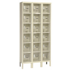 Hallowell USVP3228-6PT Safety-View Locker Six Tier 12x12x12 18 Doors Unassembled Parchment