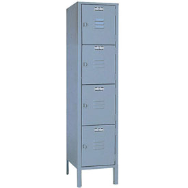 Lyon Locker DD5352 Four Tier 12x12x12 1-Wide Hasp Handle Ready To Assemble Gray