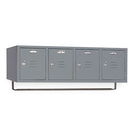 Lyon Locker DD5991CR Four Person Wall 45x18x13-3/4, 4 Doors Hasp Handle, Ready To Assemble Gray