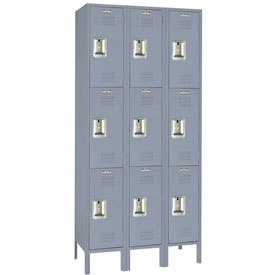 Lyon Locker DD52833SU Three Tier 12x15x24 3-Wide Recessed Handle Assembled Gray