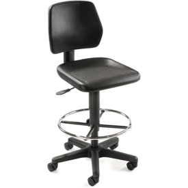 Task Stool with 360 Footrest- Polyurethane - Black